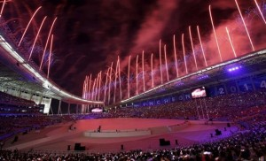 Fireworks explode during the opening ceremony of the 17th Asian Games in Incheon