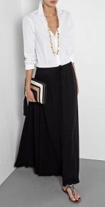 เสื้อเชิ้ต-สีขาว-กระโปรง-Maxi-สีดำ