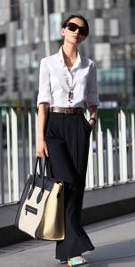 เสื้อเชิ้ต-สีขาว-กางเกงดำ-กระเป๋า-Celine