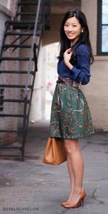 เสื้อเชิ้ตสีน้ำเงิน-Ann-Taylor-กระโปรง-DIY-เสื้อคลุม-HM-สีเขียวลายเส้น-เข็มขัด-J.-Crew-รองเท้า-J.-Crew