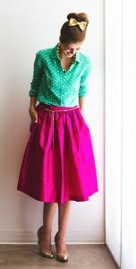 เสื้อเชิ้ตสีเขียวลายจุดขาว-กระโปรงสีชมพู-PartySkirt