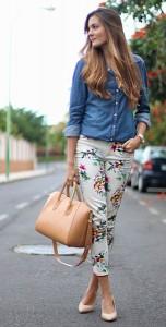 กางเกงลายดอก-สีขาว-Zara-เสื้อเชิ้ตยีนส์-Stradivarius-รองเท้า-SuiteBlanco-กระเป๋า-Teria-Yabar-นาฬิกา-Max-Madoxx