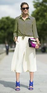 กางเกง-Culottes-สีครีม-เสื้อเชิ้ตลายหมากรุก-สีเขียว