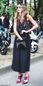 กางเกง-Culottes-สีดำ-เสื้อกล้าม-สีดำจุดขาว