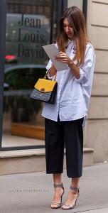 กางเกง-Culottes-สีดำ-เสื้อเชิ้ตสีขาว-Meruyert-Ibragim