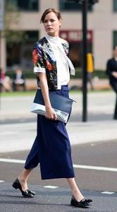 กางเกง-Culottes-สีน้ำเงิน-เสื้อสีขาว-แจ็คเก็ตลายดอกไม้-London-Fashion-Week