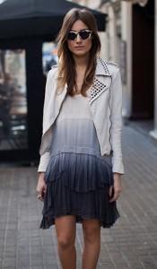 เดรสไล่เฉดสี-ขาวน้ำเงิน-Zara-แจ็คเก็ตหนัง-สีขาว-Zara