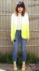 เสื้อสูทไล่สี-ขาวเหลือง-Asos-กางเกงยีนส์-รองเท้าเหลือง