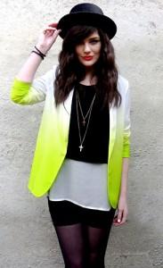 เสื้อสูทไล่เฉดสี-ขาวเหลือง-Asos-เสื้อ-Romwe-กางเกงขาสั้นสีดำ-American-Apparel-หมวก-Rokit-สร้อยคอ-Topshop
