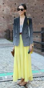 เสื้อสูท-Ombre-สีดำขาว-กระโปรงสีเหลือง-Milan-Fashion-Week-Spring-2013