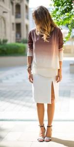 เสื้อไล่เฉดสี-น้ำตาลขาว-Young-Fabulous-and-Broke-กระโปรงสีขาว-Zara-รองเท้า-Zara