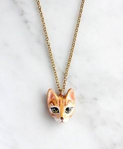 สร้อยคอรูปแมว-สีส้ม