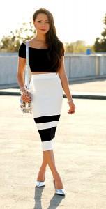 กระโปรงทรงดินสอ-ขาวดำ-Shoppiin-เสื้อเอวลอยสีดำ-Asos-กระเป๋า-DailyLook-รองเท้าส้นสูง-Choies
