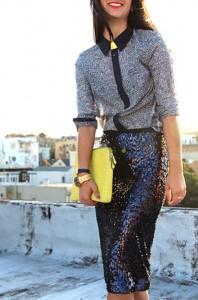 กระโปรงทรงดินสอ-ปักเลื่อมสีน้ำเงิน-Zara-เสื้อเชิ้ต-Gap-รองเท้า-Christian-Louboutin-แว่นตากันแดด-Karen-Walker