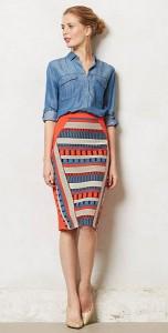 กระโปรงทรงดินสอ-ลายเส้นสีส้มฟ้าดำเทา-Eva-Franco-เสื้อยีนส์