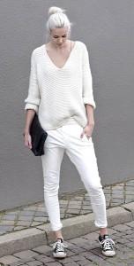 สเว็ตเตอร์สีขาว-Zara-กางเกงยีนส์สีขาว-Five-Units-รองเท้า-Converse-กระเป๋าคล้ทช์สีดำ-Everie-Cph