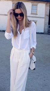 เสื้อเชิ้ตสีขาว-Equipment-กางเกงสีขาว-Zara-รองเท้าส้นสูง-Zimmermann-กระเป๋า-Alexander-Wang-นาฬิกา-Michael-Kors