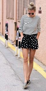 กางเกงขาสั้นลายจุด-Primark-สีดำลายจุดดอกไม้สีขาว-เสื้อยืดลายขวางสีขาวดำ-Petit-Bateau-รองเท้า-Sacha