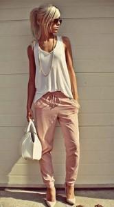 กางเกง-Harem-สีชมพู-เสื้อกล้ามสีขาว