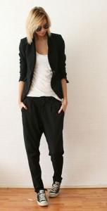 กางเกง-Harem-สีดำ-Zara-เสื้อยืดสีขาว-เสื้อสูทสีดำ-Zara