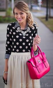 สเว็ตเตอร์ลายจุด-Forever-21-สีดำจุดขาว-เสื้อเชิ้ตลายตาราง-Ann-Taylor-กระโปรงสีขาว-L.Mae-Boutique