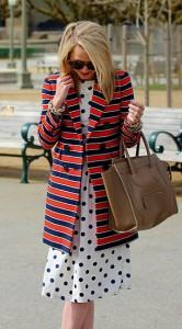 เดรส-Polka-Dot-สีขาวจุดน้ำเงิน-Topshop-เสื้อคลุมลายขวาง-สีพีชสีน้ำเงินเข้ม-J.-Crew-รองเท้า-Madewell