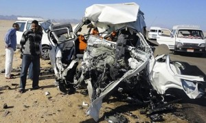 Two tour buses that crashed into each another are seen on Hurgada highway