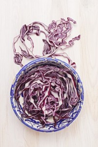 Sliced red cabbage in a bowl