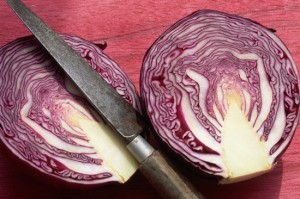Two Halves of a Red Cabbage
